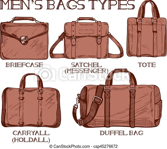 Mens bags types. Vector illustration of