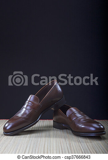 Mens Brown Penny Loafer Shoes Against Black Background - csp37666843