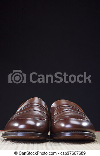 Mens Footwear Concepts. Pair of Brown Modern Calf Leather Brown Penny Loafers Shoes.Closeup Shot. - csp37667689
