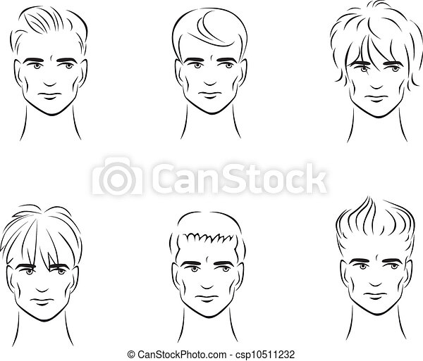 Men S Hairstyles Illustration Of The Six Options For Men S