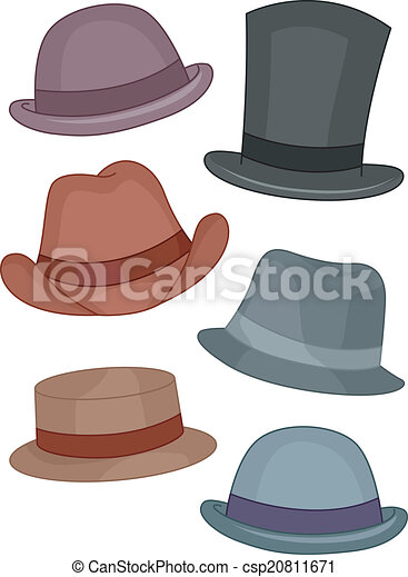Illustration featuring different types of men s hats . 0e8591e4fa3