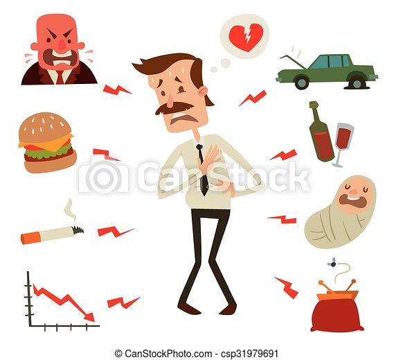 Mens heart problems. Businessman risk factors - csp31979691