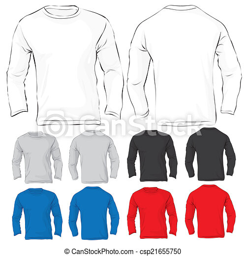 Mens Long Sleeved T Shirt Template In Many Color Vector
