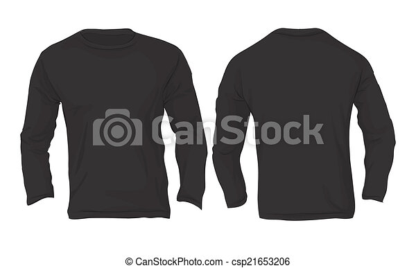 men s long sleeved t shirt template black color vector
