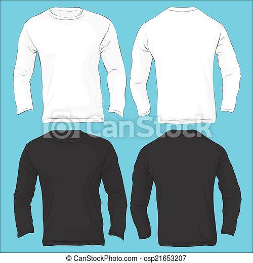 men s long sleeved t shirt template black white vector