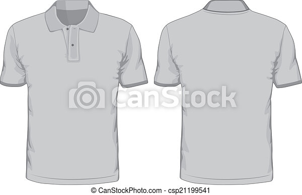Men\'s polo-shirts template. front and back views. vector illustration.