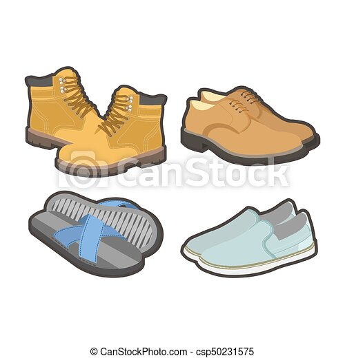Mens shoes for all seasons isolated illustrations set - csp50231575