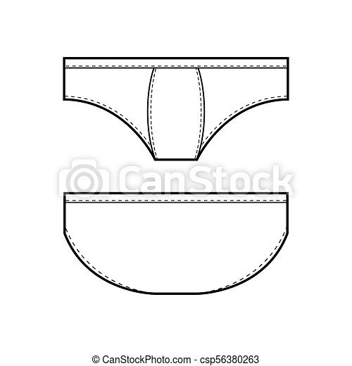 mens underwear in front and back view template for design of clothes