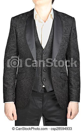 Mens wedding dress black pattern, blazer unfastened, waistcoat, white  shirt, without tie, isolated over white.