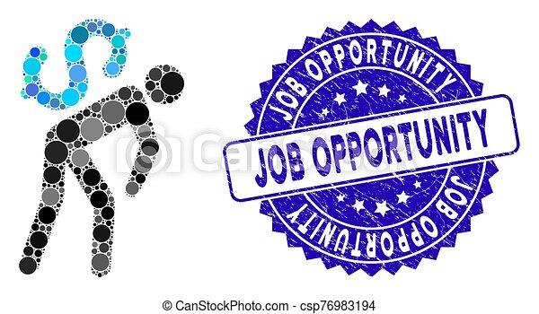 mensageiro, dinheiro, colagem, ícone, trabalho, angústia, oportunidade, selo - csp76983194