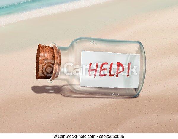 Mensaje de ayuda en una botella - csp25858836