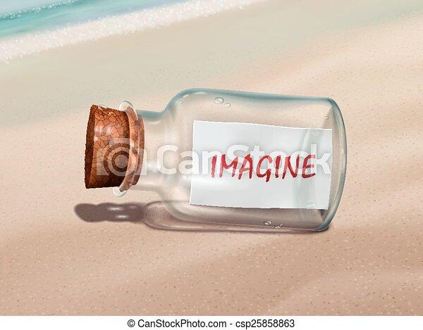 Imagina un mensaje en una botella - csp25858863
