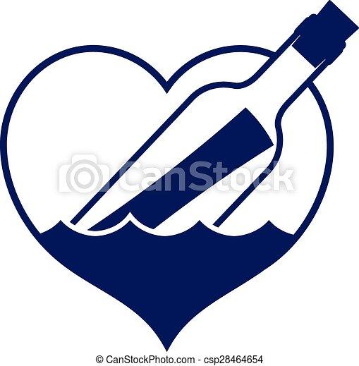 Un mensaje con forma de corazón en un icono de botella - csp28464654