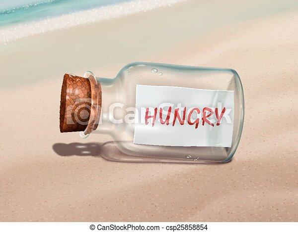 Mensaje hambriento en una botella - csp25858854