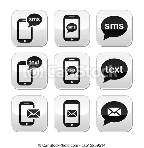 Móvil sms mensaje de texto botón de correo - csp12259514