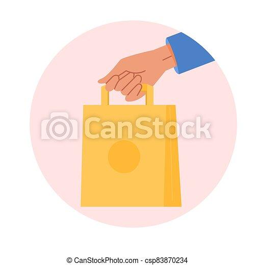 mensajero, bag., alimento, papel, entrega, vector, fondo., tenencia, compras, mano, aislado, emblema, extendido, blanco, bandera, arte, ecológico, caricatura, concept., cliente, ilustración - csp83870234