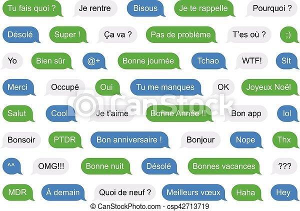 Sms Burbujea Mensajes Cortos En Francés Ilustración De Sms