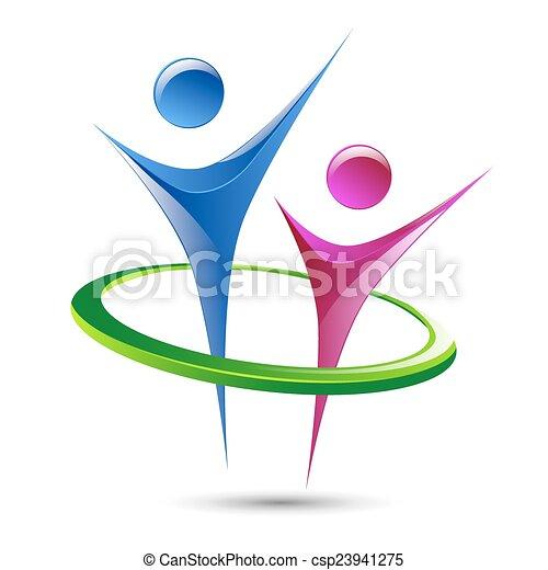 menselijk, abstract, vector, figuren, mal, logo - csp23941275