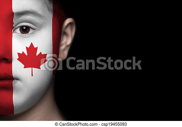 menselijk gezicht, canada vlag - csp19455093