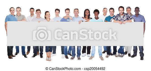 mensen, anders, plakkaat, vasthouden, leeg - csp20054492
