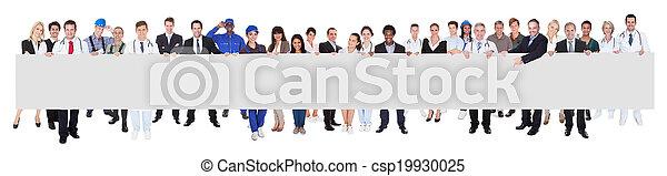 mensen, beroepen, gevarieerd, vasthouden, leeg, buitenreclame - csp19930025