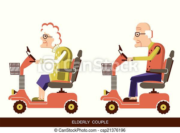 mensen, besturen, oud, beweeglijkheid, scooter - csp21376196