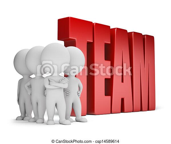 mensen, betrouwbaar, -, team, kleine, 3d - csp14589614