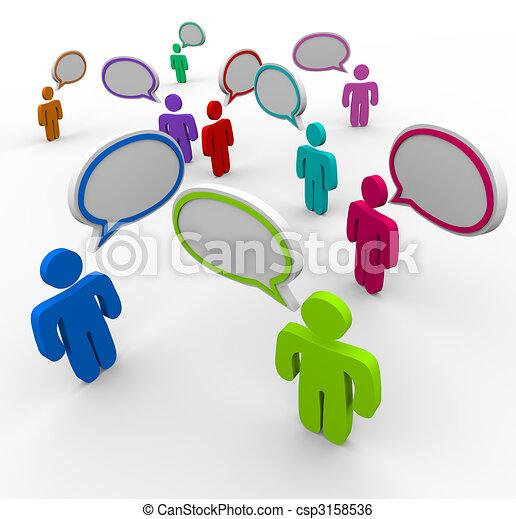 mensen, communicatie, -, ontwrichtend, het spreken, eens - csp3158536