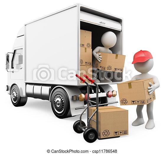 mensen., dozen, vrachtwagen, witte , werkmannen , het leegmaken, 3d - csp11786548