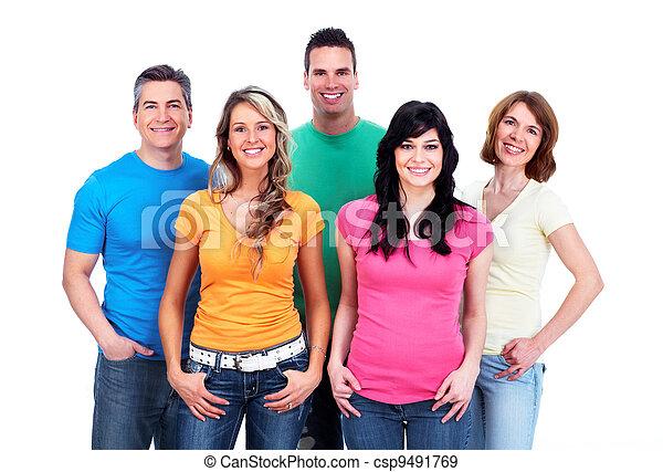 mensen., groep, vrolijke  - csp9491769