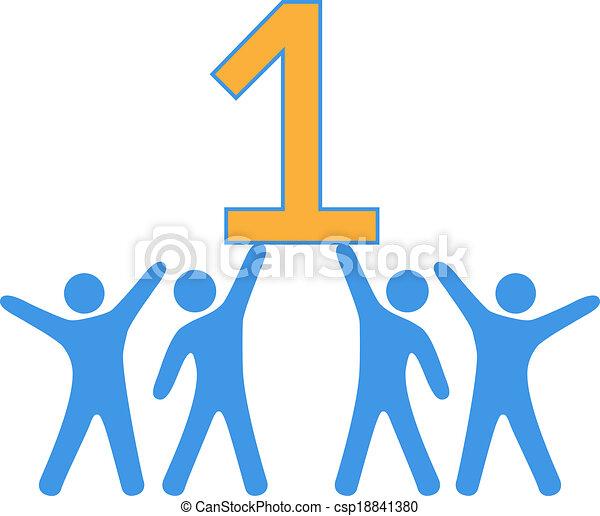 mensen, groot, nummer 1, team, winnen, vieren - csp18841380
