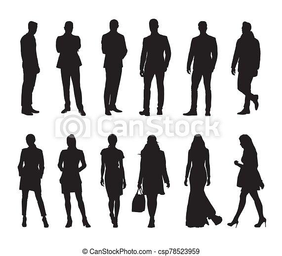 mensen, mannen, silhouettes, groep, zakelijk, vector, women., vrijstaand - csp78523959