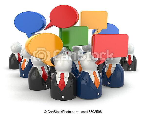 mensen, media, concept., bubbles., toespraak, sociaal - csp18802598