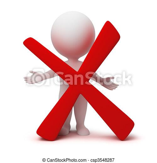 mensen, symbool, -, negatief, kleine, 3d - csp3548287