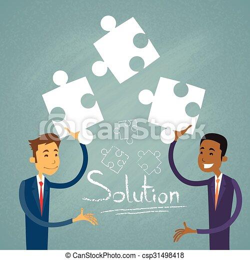 mensen, zakenman, zakelijk, raadsel, twee, oplossing, oplossen - csp31498418