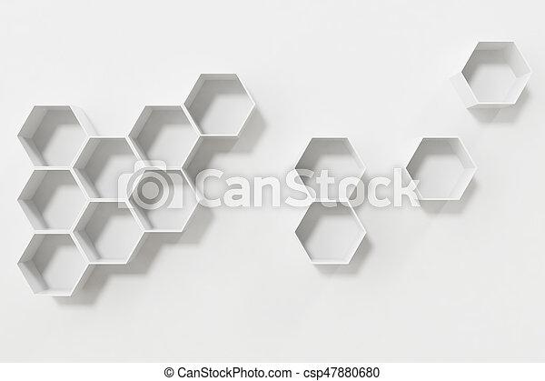 Mensole, parete, parete, interpretazione, bianco, esagono, vuoto, 3d ...