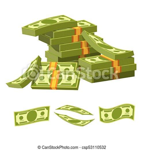 mensonge, argent, attaché, élastique, papier, tas, désordre - csp53110532