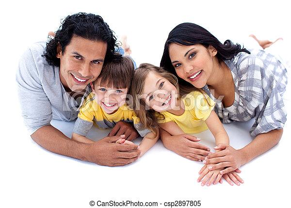 mensonge, vif, famille, plancher - csp2897805