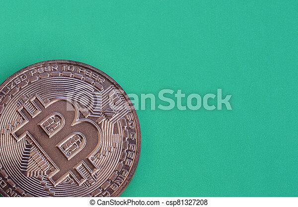 mensonges, chocolat, modèle, vert, monnaie, formulaire, bitcoin, physique, arrière-plan., plastique, comestible, produit, crypto - csp81327208