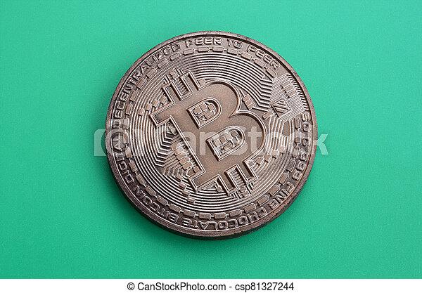 mensonges, chocolat, modèle, vert, monnaie, formulaire, bitcoin, physique, arrière-plan., plastique, comestible, produit, crypto - csp81327244