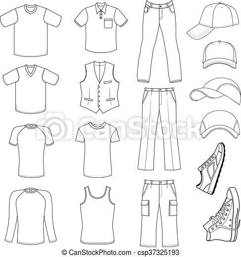 menswear, headgear, sapatos, & - csp37325193