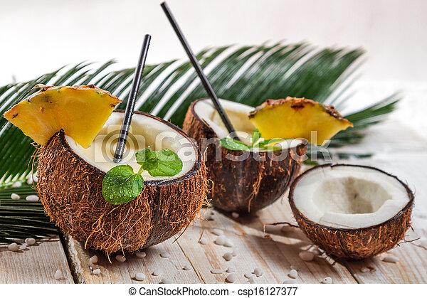menta, coco, hoja, pinacolada - csp16127377