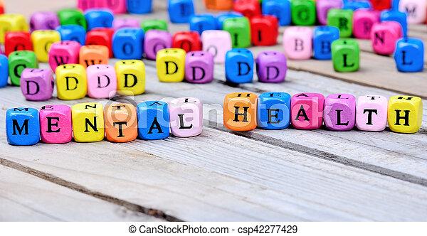 mental, bois, mots, santé, table - csp42277429