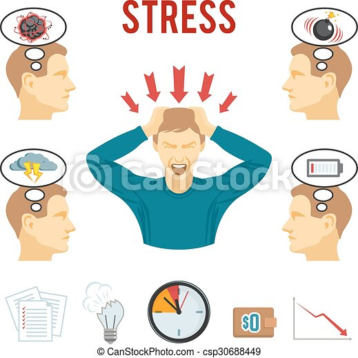 Mental disorder and stress icons set - csp30688449