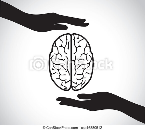 mental health hand protecting brain - csp16880512