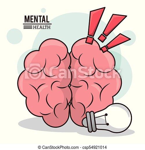 mental health, human brain idea exclamation mark design - csp54921014