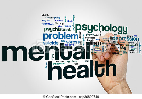 Mental health word cloud - csp36890740