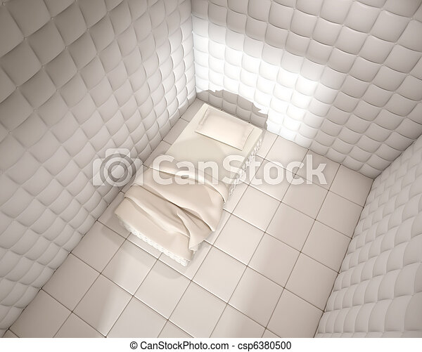 mental hospital padded room from above - csp6380500