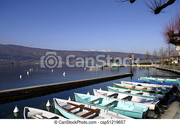 Menthon marina and boats, Annecy lake, France - csp51219657