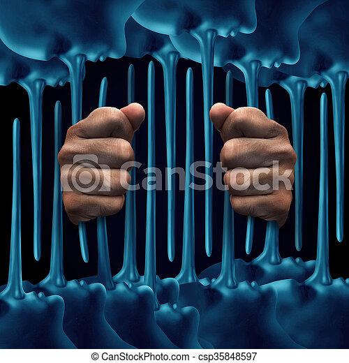 mentiras, conceito, prisão - csp35848597